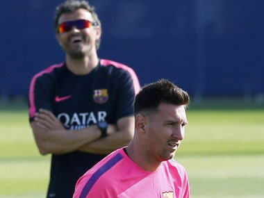 File phot of Lionel Messi and Luis Enrique. Reuters