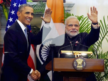 PM Narendra Modi and US President Barack Obama conclude the joint press interaction at Hyderabad House on Sunday. PTI
