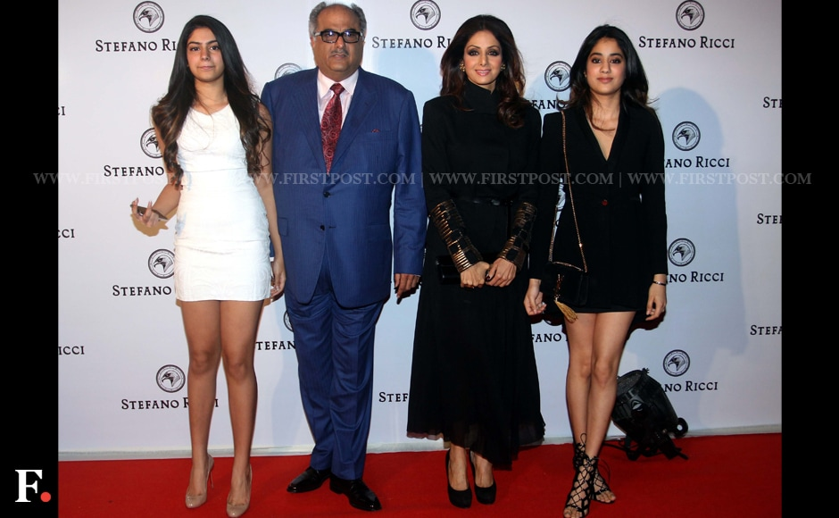 Sridevi was spotted with her family at a recent event. While Boney Kapoor seems to be the least fashionable person with his red tie and blue suit he is surrounded by his perfectly glamorous wife Sridevi and his beautiful daughters Khushi and Jhanvi. Sachin Gokhale/Firstpost