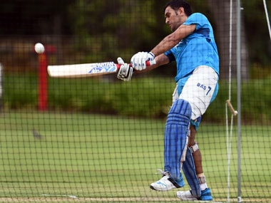 MS Dhoni during a net session. AFP