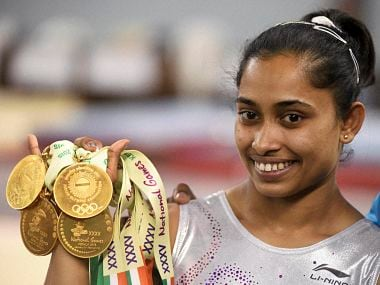 Gymnastic player Dipa Karmakar bagged five gold medals at the 35th National Games. PTI