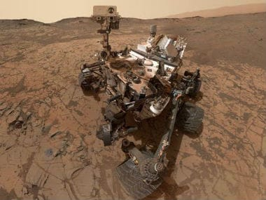 The selfie taken by Mars rover Curiosity. Twitter