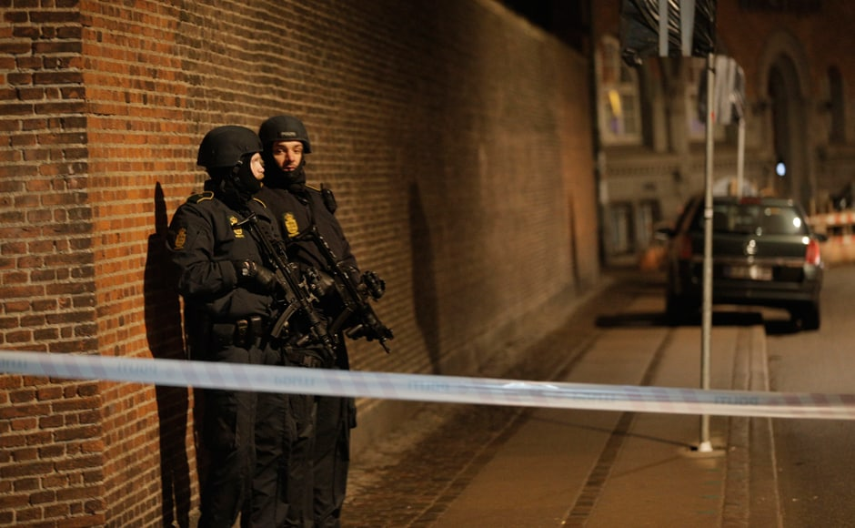 One person was shot in the head and two police were wounded in an attack on the synagogue in central Copenhagen, Danish police said, adding that it was too early to say whether the incident was connected to an earlier one at an arts cafe. The news followed a shooting attack earlier on Saturday on a cafe which hosted a debate on freedom of speech and was attended by Swedish artist Lars Vilks, who has been threatened with death for his cartoons of the Prophet Mohammad. Reuters