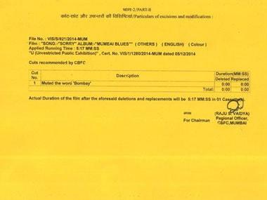 A screen grab of the CBFC certificate.