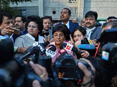 BJP's CM candidate Kiran Bedi is not in cheerful best today. AFP