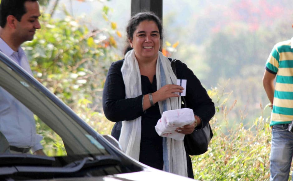 Reena Dutta, ex-wife of Bollywood actor Aamir Khan returns after attending Aamir Khan's 50th birthday party in Lonavala, India on March 15, 2015. Solaris Images
