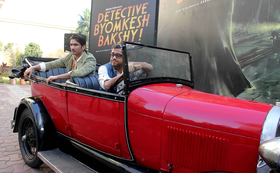 Bollywood actor Sushant Singh Rajput and filmmaker Dibakar Banerjee during the 2nd trailer launch of film Detective Byomkesh Bakshy! in Mumbai, India on March 9, 2015. SOLARIS IMAGES