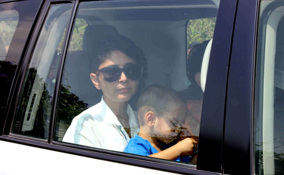 Aamir Khan's wife Kiran Rao with son Azad Rao Khan returns after attending Aamir Khan's 50th birthday party in Lonavala, India on March 15, 2015. Solaris Images