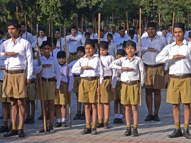 File image of the an RSS cadre. AFP