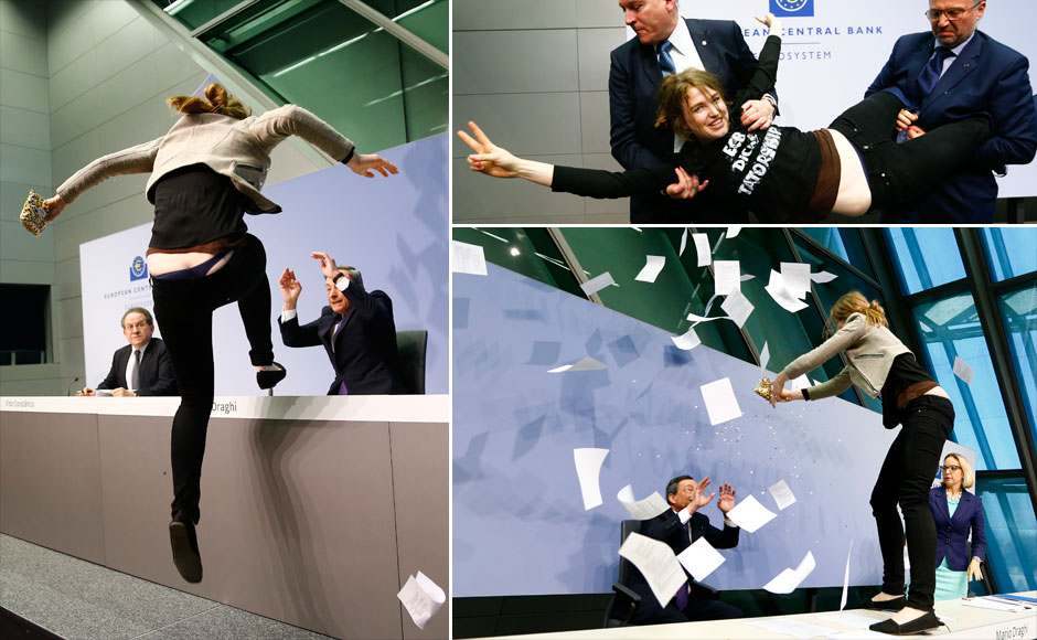 Photos: FEMEN crash European Central Bank President Mario Draghi