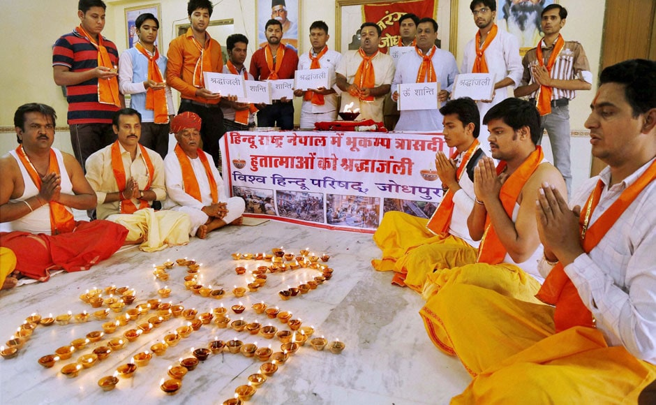 Jodhpur: Workers of right wing groups VHP and Bajrang Dal pay tribute to the earthquake victims of Nepal, in Jodhpur on Sunday. PTI