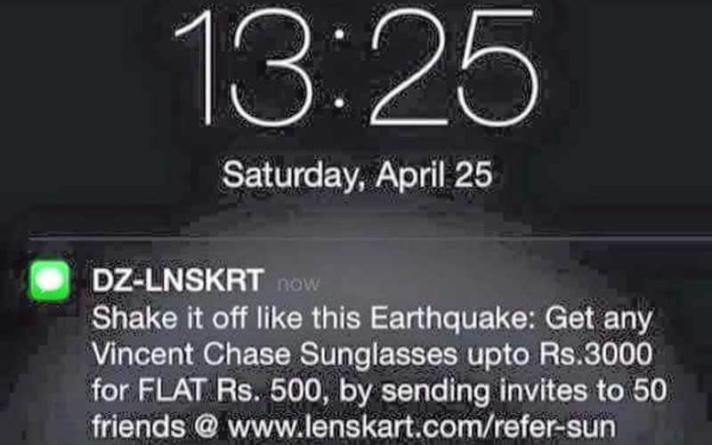 Shake it off like the earthquake says Lenskart ad after Nepal tragedy kills over 3000