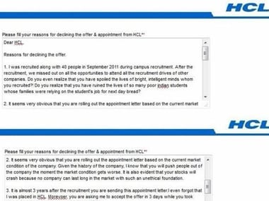 Girl slams hcl on receiving appointment letter a full 3 years after screenshot of the post on facebook altavistaventures Images