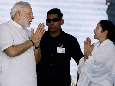 Prime Minister Narendra Modi and West Bengal Chief Minister Mamata Banerjee  during the dedication ceremon of the Modernized and expanded IISCO Steel Plant to the nation at Polo Ground in Asansol on Sunday. PTI