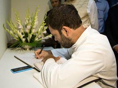 Congress vice president Rahul Gandhi at the Nepal Embassy. Image: INCIndia