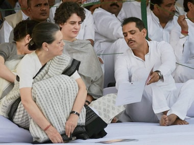 Sonia Gandhi with Priyanka And Robert Vadra at Rajiv Gandhi's 24th anniversary prayer meet. PTI