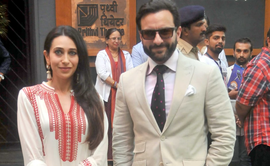 Karisma Kapoor pose with brother-in-law Saif Ali Khan at Prithvi Theatre. Sachin Gokhale/Firstpost