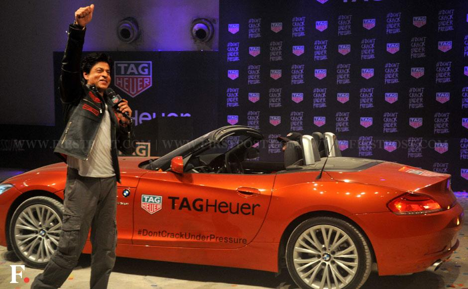 Shahrukh Khan and brand ambassador for Tag Heuer launches Don't Crack Under Pressure initiative in Mumbai. Sachin Gokhale/ Firstpost