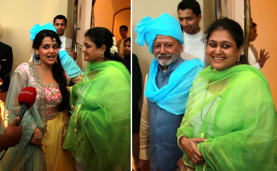 Bollywood actor Pankaj Kapoor with his wife Supriya Pathak during their son and Bollywood actor Shahid Kapoor wedding with Mira Rajput in New Delhi, India on July 7, 2015. SOLARIS IMAGES