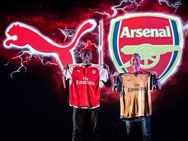 Arsenal legends Ray Parlour and Sol Campbell unveil the 2015/16 home and away kit. Puma