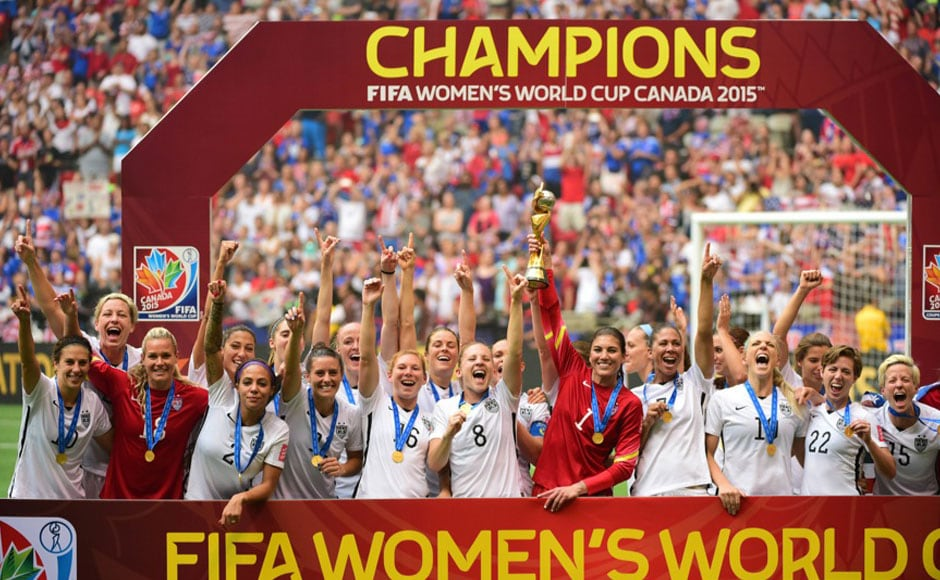 Champions! Stars and stripes on top as US beat Japan 5-2 to win the FIFA Women's World Cup 2015