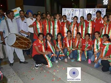 Having all but booked a berth in next year's Rio Olympics, Indian women's hockey team arrived in New Delhi to a grand welcome amidst beating of drums and loud cheers. (Picture via @TheHockeyIndia )