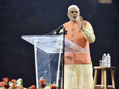 Prime Minister Narendra Modi at Madison Square Garden. PTI image