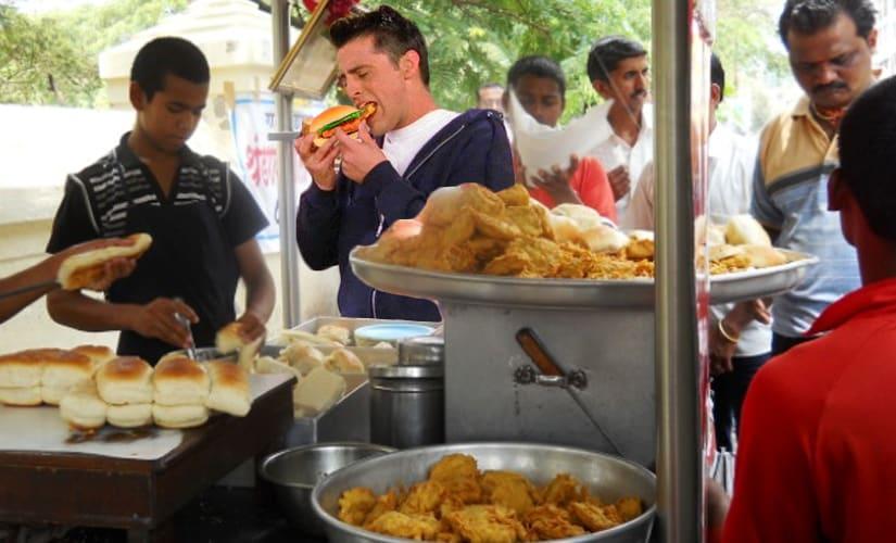 Joey-eating-vada-pav