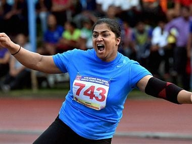 Kolkata: Manpreet Kaur of Railway reacts after setting a new National Record (17.96m) in Women's shot put event during 55th National Open Athletics Championship 2015 in Kolkata on Wednesday. PTI Photo by Swapan Mahapatra (PTI9_16_2015_000297B)