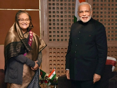 File image of Narendra Modi with Sheikh Hasina. PTI
