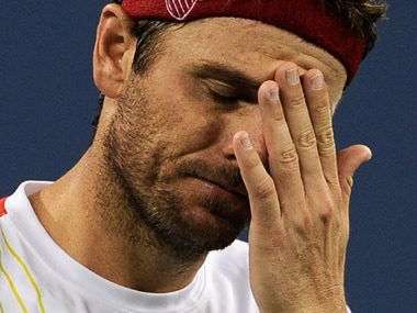 Mardy Fish in the against Giles Simon in US Open 2012 - the only time he would suffer from a panic attack on court. AFP