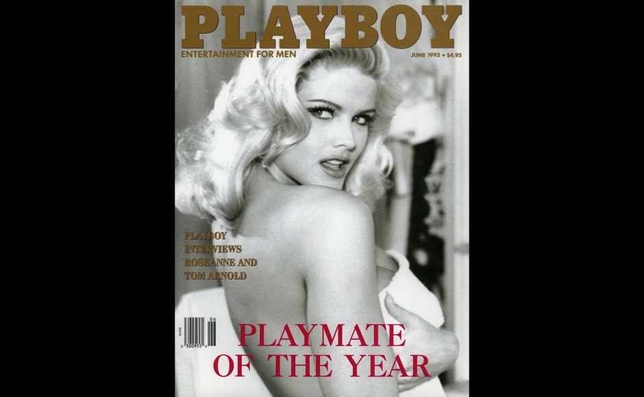 This image released by Playboy shows Playmate of the Year Anna Nicole Smith on the cover of the June 1993 issue of the gentleman's magazine. The magazine that helped usher in the sexual revolution in the 1950s and '60s by bringing nudity into America's living rooms announced this week that it will no longer run photos of completely naked women. Starting in March, 2016, Playboy's print edition will still feature women in provocative poses, but they will no longer be fully nude. (Playboy via AP)