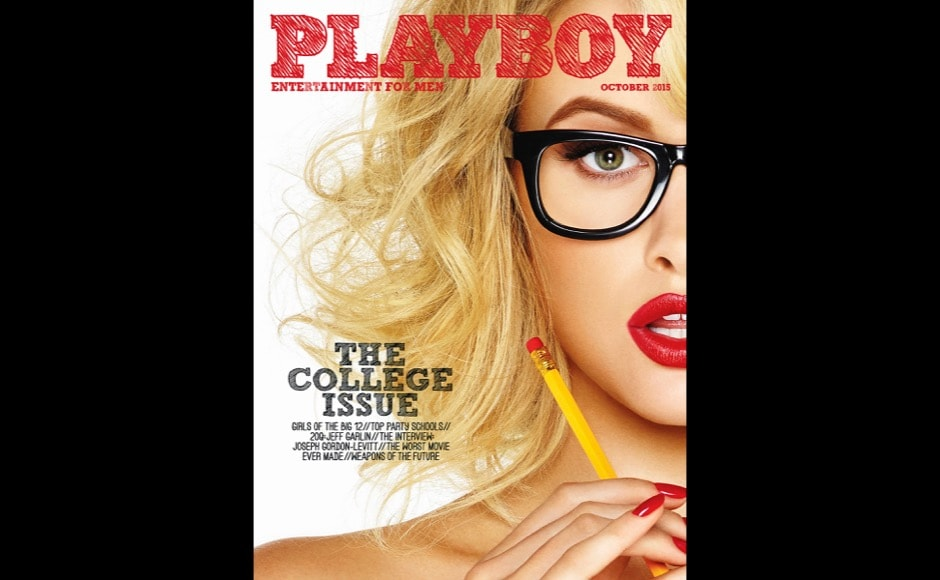 This cover image released by Playboy shows the October 2015 college issue of the gentleman's magazine. The magazine that helped usher in the sexual revolution in the 1950s and '60s by bringing nudity into America's living rooms announced this week that it will no longer run photos of completely naked women. (Playboy via AP)