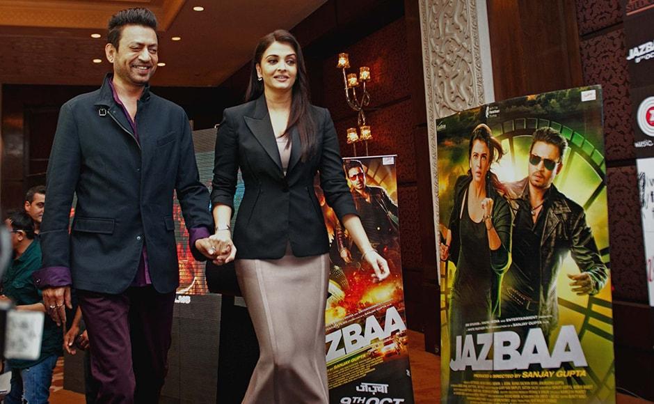 Irrfan Khan and Aishwarya Rai Bachchan during the promotions of Jazbaa in Delhi. Naresh Sharma/ Firstpost