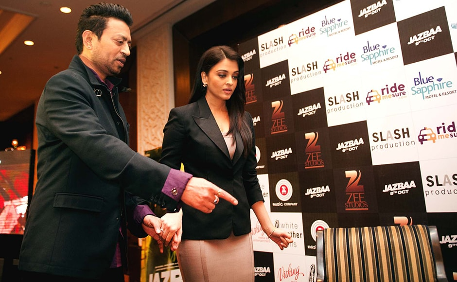 Irrfan Khan and Aishwarya Rai Bachchan looking suave in their crisp outfits as opposed to the hassled posters of the film. Naresh Sharma/Firstpost