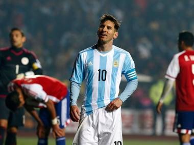 Argentina's Lionel Messi pauses during the Copa America 2015 semi-final soccer match against Paraguay at Estadio Municipal Alcaldesa Ester Roa Rebolledo in Concepcion