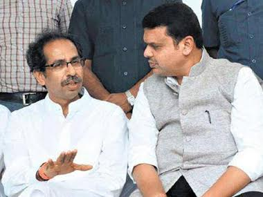 File photo of Chief Minister Devendra Fadnavis and Shiv Sena chief Uddhav Thackeray. PTI