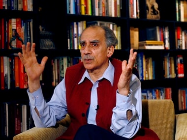 India?s former cabinet minister and senior member of the Bharatiya Janata Party (BJP) leader Arun Shourie speaks in New Delhi