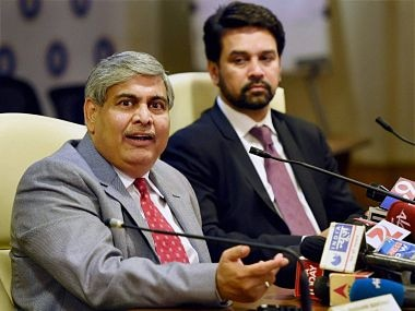 Anurag Thakur (right) is likely to take over from Manohar as BCCI chief. PTI