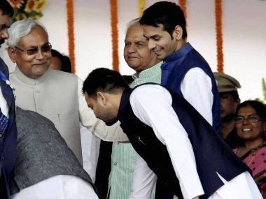Lalu Yadav's sons at Nitish Kumar's swearing in/ PTI