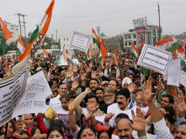 File image of Congress protest rally against PDP-BJP government. PTI