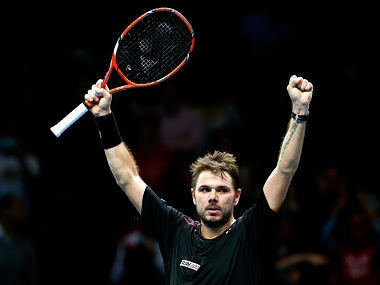 Stan Wawrinka celebrates his victory during the men's singles match against Andy Murray. Getty