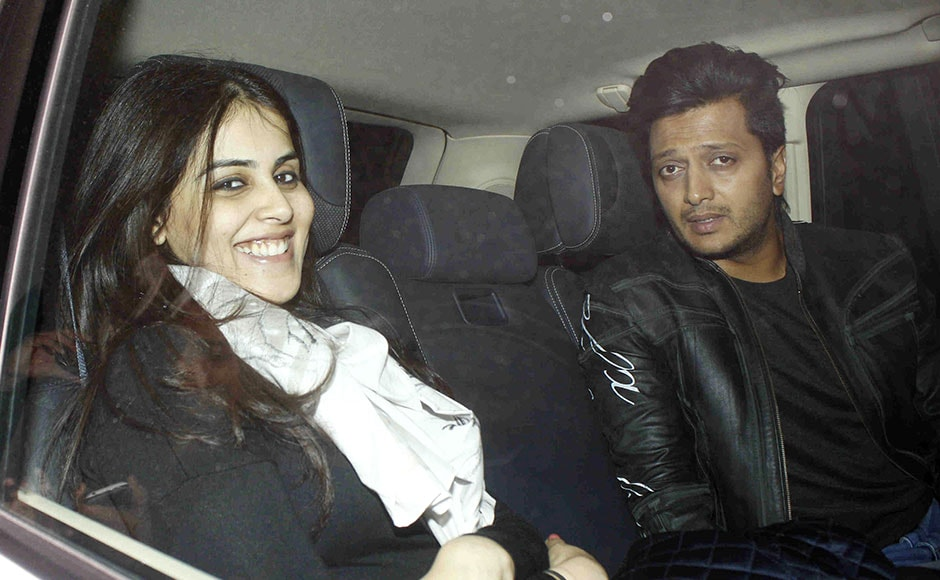 Bollywood actor Riteish Deshmukh with his wife and actor Genelia D'Souza arrives for Salman Khan's 50th birthday party in Panvel, India on December 26, 2015. (Gautam Salvi/ SOLARIS IMAGES)