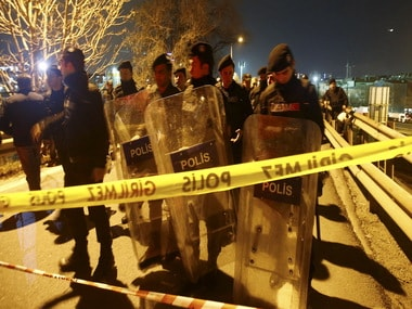 Police at the site of the blast/ Reuters