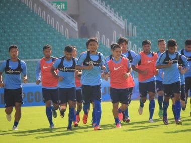 Indian football in training. AIFF