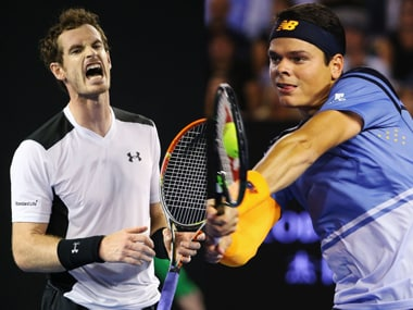 Andy Murray and Milos Raonic at the Australian Open. Getty Images