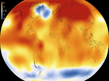 This illustration obtained from NASA shows that 2015 was the warmest year since modern record-keeping began in 1880. AFP