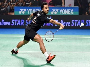 Delhi Acers Tommy Sugiarto plays against Chennai Smashers Brice Leverdez during the 1st semifinal of Premier Badminton Leauge. PTI
