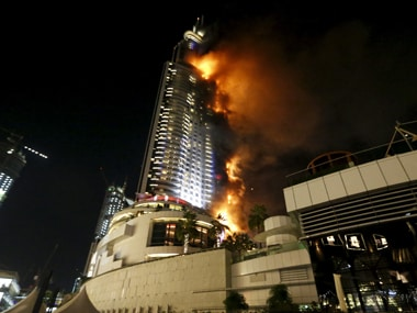Fire erupted in a building in Dubai. Reuters