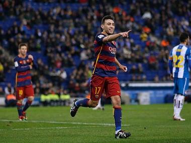 FC Barcelona's Munir El Haddadi celebrates after scoring against Espanyol. AP